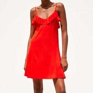 ZARA Ruffled Dress - Red